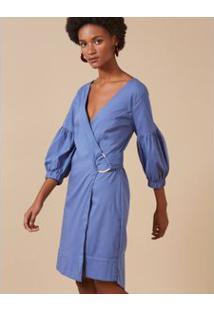 Vestido Curto Transpasse Azul / M