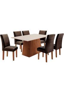 Conjunto De Mesa De Jantar Sevilha Com 6 Cadeiras Classic Ll Suede Off White E Marrom