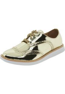 b44b54abfe ... Sapato Feminino Oxford Dourado Vizzano - 1231101