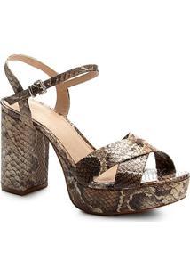 Sandália Couro Shoestock Meia Pata Cobra Feminina - Feminino-Cobra
