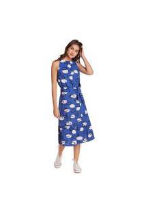 Vestido Zinco Midi Decote Redondo Com Faixa Azul