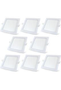 Luminária Led Plafon De Embutir Quadrado 15W Branco Quente Kit 10