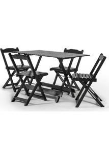 Conjunto Mesa Em Madeira Maciça Disamóveis Boston 120X70Cm Com 4 Cadeiras Las Vegas - Tabaco