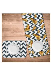 Jogo Americano Com Caminho De Mesa Pizza Abstract Kit Com 4 Pçs + 1 Trilho