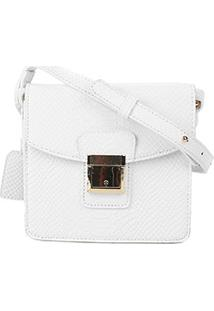 Bolsa Shoestock Mini Bag Crossbody Snake Feminina - Feminino-Branco