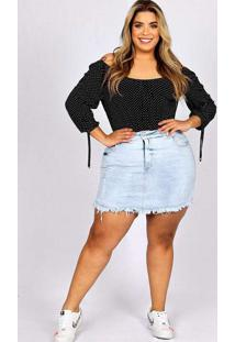 Shorts Saia Desfiado Almaria Plus Size Fact Jeans