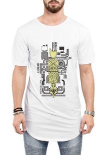 Camiseta Criativa Urbana Long Line Oversized África E Tecnologia - Masculino-Branco