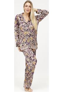 Pijama Acetinado Com Botãµes- Ros㪠& Roxo- Fruit De Lfruit De La Passion
