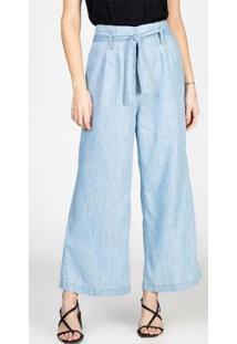 Calça Jeans Leve Pantacourt Ampla Com Cinto Delavê Bloom Feminina - Feminino