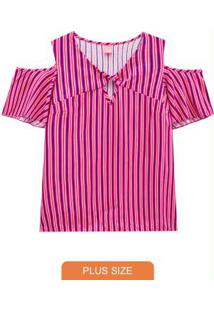 Blusa Rosa Estampada Listras Recortes
