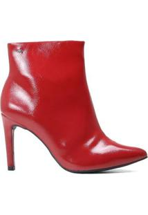 Bota Dakota Ankle Boot Cano Curto Verniz Feminina - Feminino-Vermelho