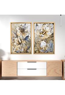 Quadro Com Moldura Chanfrada Pintura Flor Amarelo Madeira Clara - Mã©Dio - Multicolorido - Dafiti