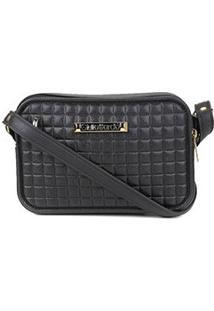 Bolsa Giulia Bardô Quadriculada Mini Bag Transversal Feminina - Feminino-Preto