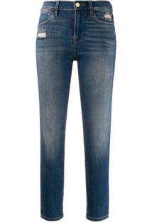 Frame Calça Jeans Cintura Alta Com Lavagem - Azul