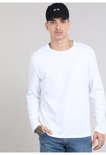 Camiseta Masculina Básica Gola Careca Manga Longa Branca