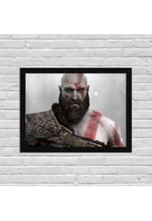 Quadro Decorativo Gamer God Of War Preto - Médio