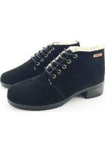 Bota Coturno Forrada Em Lã Quality Shoes Feminina Camurça Preto 35