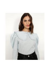 Blusa Cropped Estampada Xadrez Vichy Manga Bufante Gola Boneca Com Babado Mindset Azul Claro