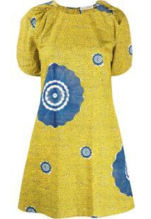 Ulla Johnson Vestido Reto Waverly Com Acabamento Engomado - Amarelo