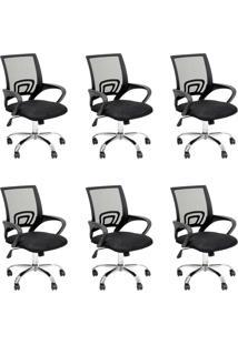Conjunto Com 6 Cadeiras De Escritório Secretária Java Ii Preto