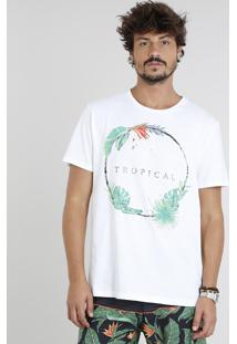 "Camiseta Masculina ""Tropical"" Manga Curta Gola Careca Off White"