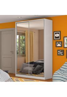 Guarda-Roupa Solteiro 2 Portas Correr 2 Espelhos 100% Mdf Rc2004 Branco - Nova Mobile