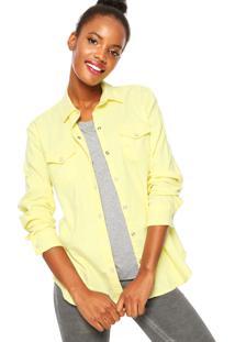 Camisa Sarja Calvin Klein Jeans Botões Amarela