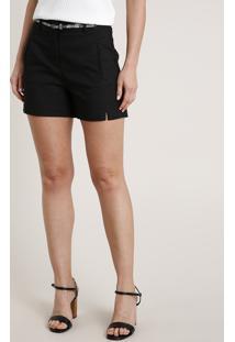 Short Feminino Básico Com Cinto Preto