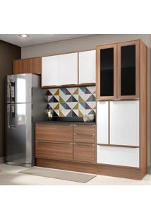 Cozinha Compacta 10 Portas C/ Tampo E Rodapé 5453R Nogueira/Branco - Multimóveis