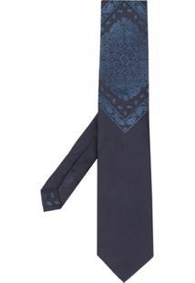 Etro Gravata Com Bordado Paisley - Azul