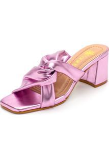 Sandália Tamanco Feminina Salto Baixo Retro Bico Quadrado Em Rosa Metalizado