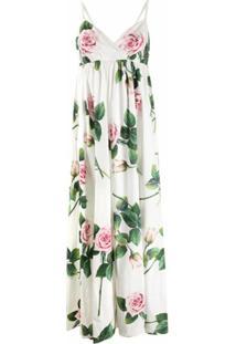 Dolce & Gabbana Vestido Longo Com Estampa Tropical - Branco
