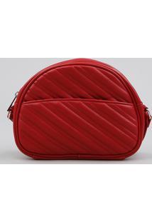 Bolsa Feminina Transversal Pequena Com Matelassê Vermelha