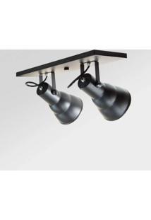 Spot Alumínio Embutir Redondo 2 Lâmpadas E27 Direcionáveis Linear Hol Taschibra Preto Fosco