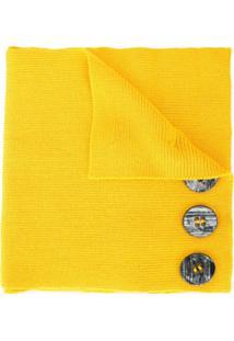 0711 Cachecol Com Aplicação De Botões - Amarelo
