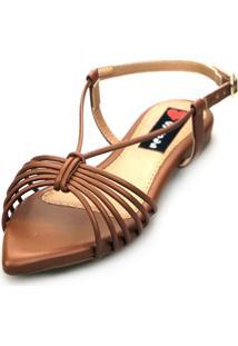 Sandalia Love Shoes Salomé Rasteira Bico Folha Tirinhas Metalizadas Caramelo