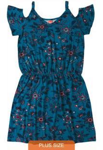 Vestido Azul Escuro Curto Acinturado Wee!