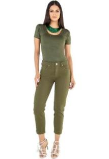 Calça Mom Latifundio Feminina - Feminino-Verde Militar