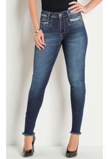 Calça Jeans Escura Sawary Com Strass E Desfiados