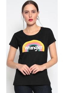 "Camiseta ""Wranglerâ®"" Arco ÍRis- Preta & Amarelawrangler"