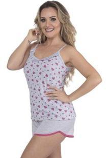 Pijama Victory Verão Glitter Short Doll E Alcinha Feminino - Feminino-Rosa Escuro
