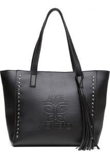 Bolsa Alice Monteiro Sacola Com Metais Grande Franja Lateral Purpura - Feminino-Preto