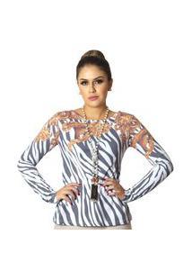Blusa Ficalinda Com Proteçáo Uv Estampa Zebra Barroco Dourado Decote Canoa Evasê