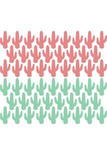 Adesivo De Parede Cactos Verde E Rosa 52Un 5X9Cm