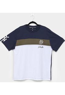 Camiseta Industrie Listrada Especial Logo Plus Size Masculina - Masculino-Marinho