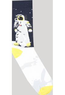 Meia Masculina Cano Alto Divertida Estampada Astronauta Azul Marinho