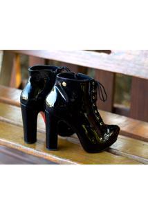 Ankle Boot Meia Pata Dm Extra Verniz Preto Dme189447 Numeração Especial 40 41 42 43