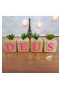 Cubo Decorativo Com Suculenta E Letras Em Acrílico Deus Único