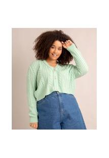 Cardigan Plus Size Cropped De Tricô Verde