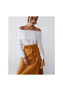 Amaro Feminino Blusa Off Shoulder De Tricot, Off-White